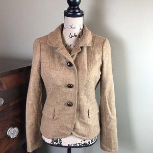 J Crew Tan Wool Tweed Jacket Blazer 4